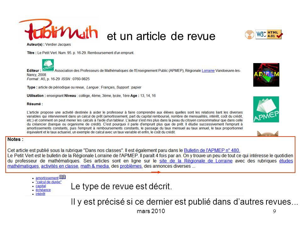 mars 2010 9 et un article de revue Le type de revue est décrit. Il y est précisé si ce dernier est publié dans dautres revues...