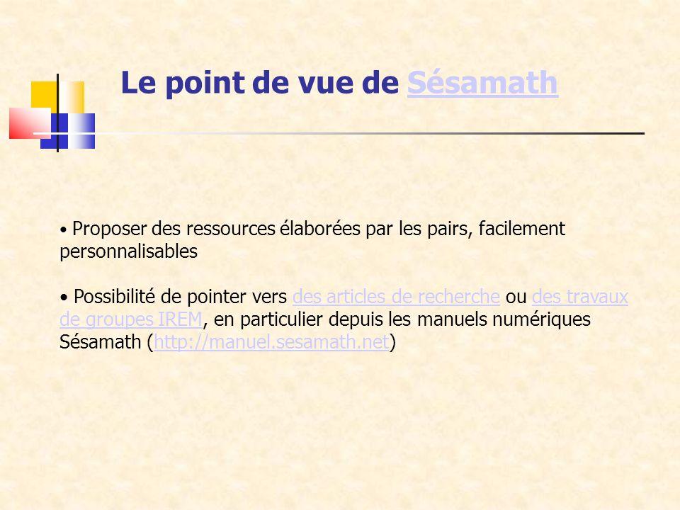 Proposer des ressources élaborées par les pairs, facilement personnalisables Possibilité de pointer vers des articles de recherche ou des travaux de groupes IREM, en particulier depuis les manuels numériques Sésamath (http://manuel.sesamath.net)des articles de recherchedes travaux de groupes IREMhttp://manuel.sesamath.net Le point de vue de SésamathSésamath