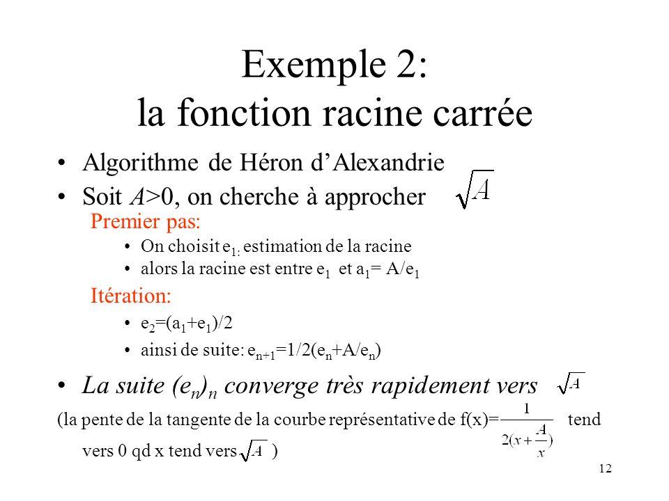 12 Exemple 2: la fonction racine carrée Algorithme de Héron dAlexandrie Soit A>0, on cherche à approcher Premier pas: On choisit e 1: estimation de la