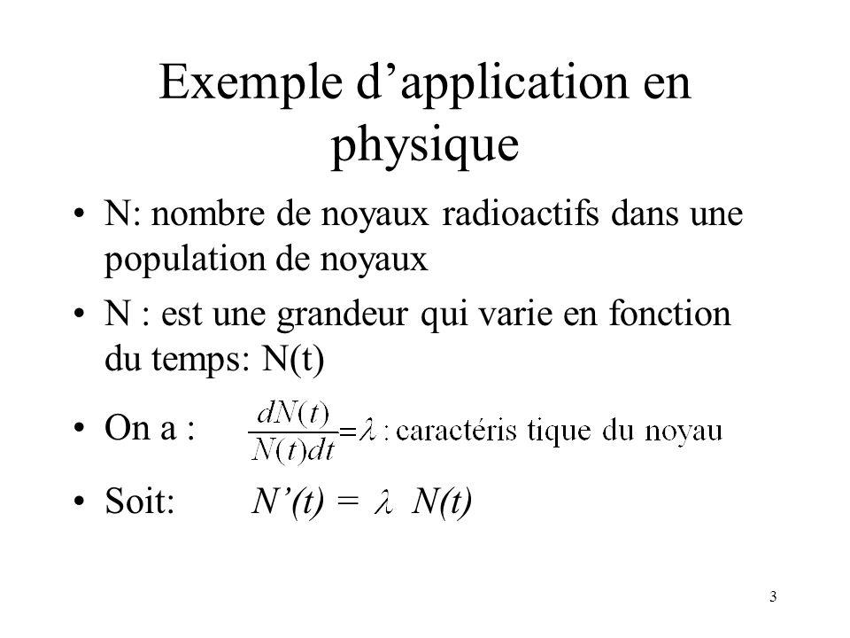 3 Exemple dapplication en physique N: nombre de noyaux radioactifs dans une population de noyaux N : est une grandeur qui varie en fonction du temps: