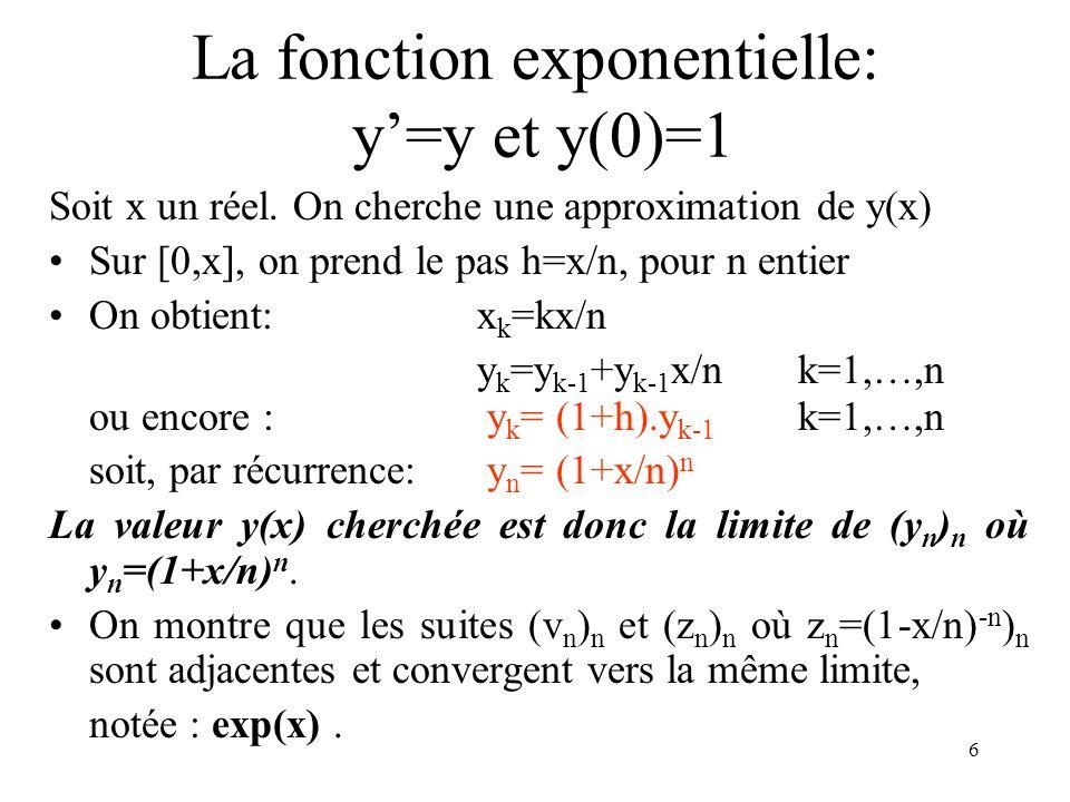 6 La fonction exponentielle: y=y et y(0)=1 Soit x un réel. On cherche une approximation de y(x) Sur [0,x], on prend le pas h=x/n, pour n entier On obt