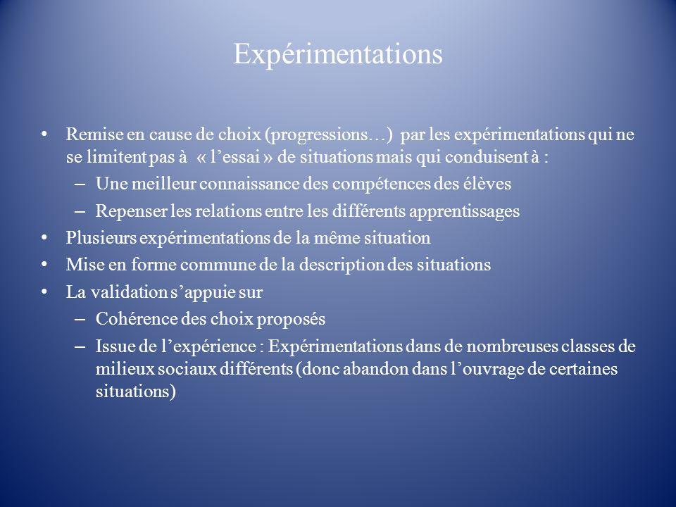 Expérimentations Remise en cause de choix (progressions…) par les expérimentations qui ne se limitent pas à « lessai » de situations mais qui conduise