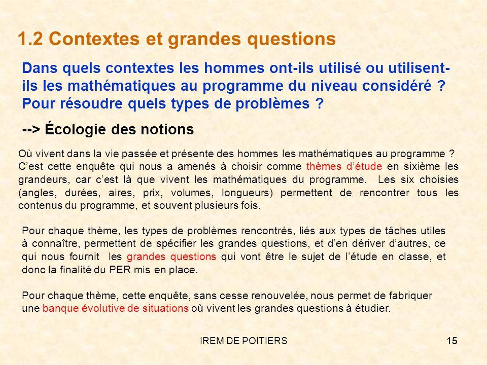 IREM DE POITIERS15 1.2 Contextes et grandes questions Où vivent dans la vie passée et présente des hommes les mathématiques au programme ? Cest cette