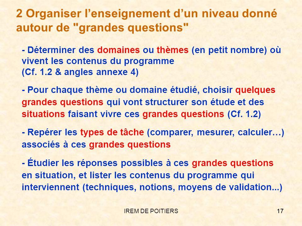 IREM DE POITIERS17 - Repérer les types de tâche (comparer, mesurer, calculer…) associés à ces grandes questions - Pour chaque thème ou domaine étudié,