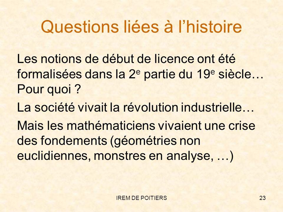 Questions liées à lhistoire Les notions de début de licence ont été formalisées dans la 2 e partie du 19 e siècle… Pour quoi ? La société vivait la ré