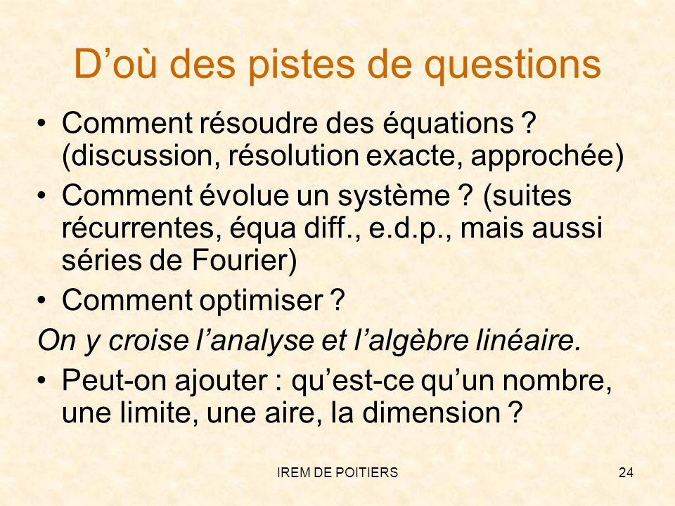 Doù des pistes de questions Comment résoudre des équations ? (discussion, résolution exacte, approchée) Comment évolue un système ? (suites récurrente