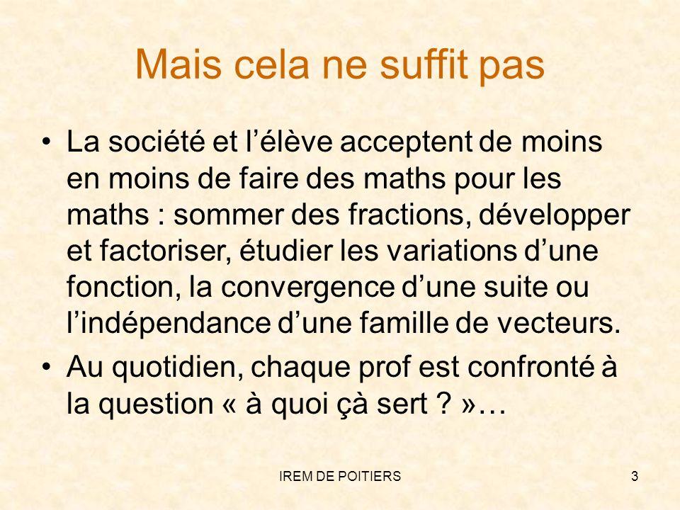 Mais cela ne suffit pas La société et lélève acceptent de moins en moins de faire des maths pour les maths : sommer des fractions, développer et facto