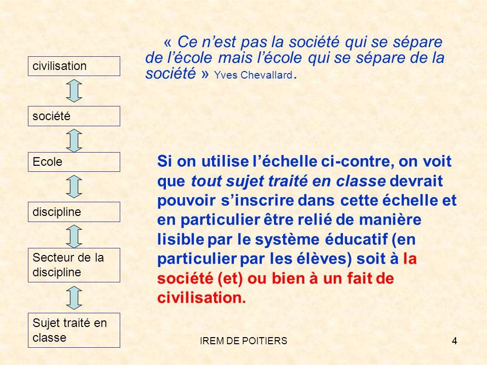IREM DE POITIERS15 1.2 Contextes et grandes questions Où vivent dans la vie passée et présente des hommes les mathématiques au programme .