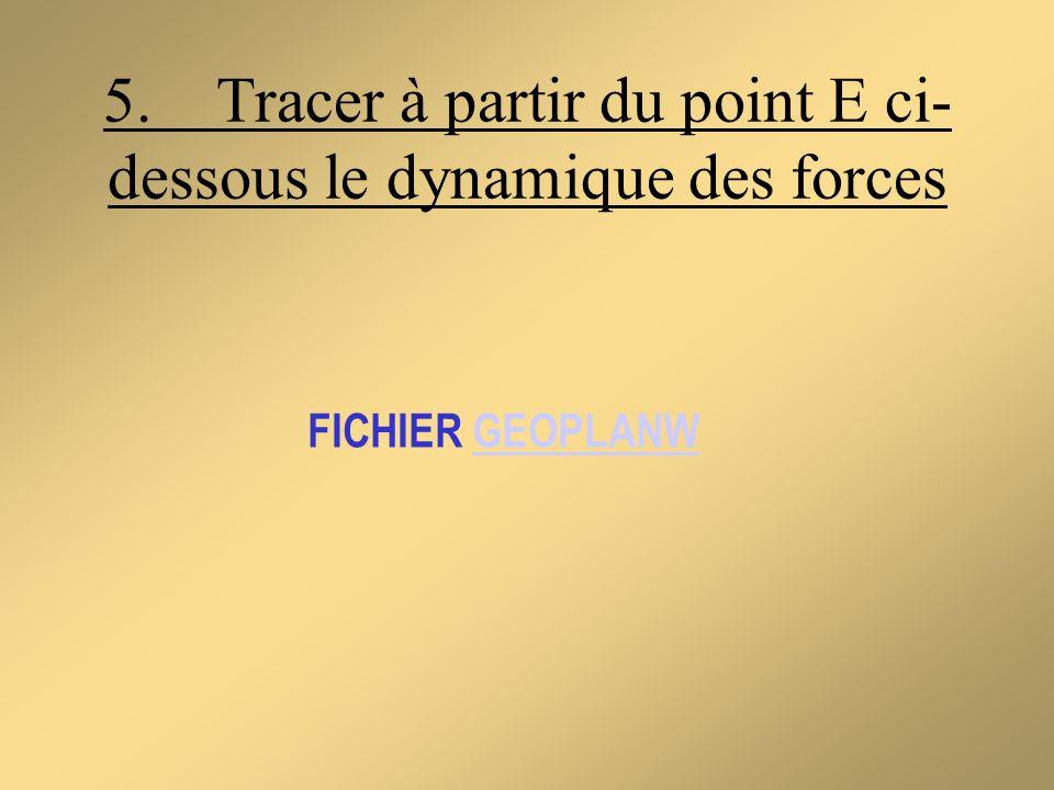 5. Tracer à partir du point E ci- dessous le dynamique des forces FICHIER GEOPLANWGEOPLANW