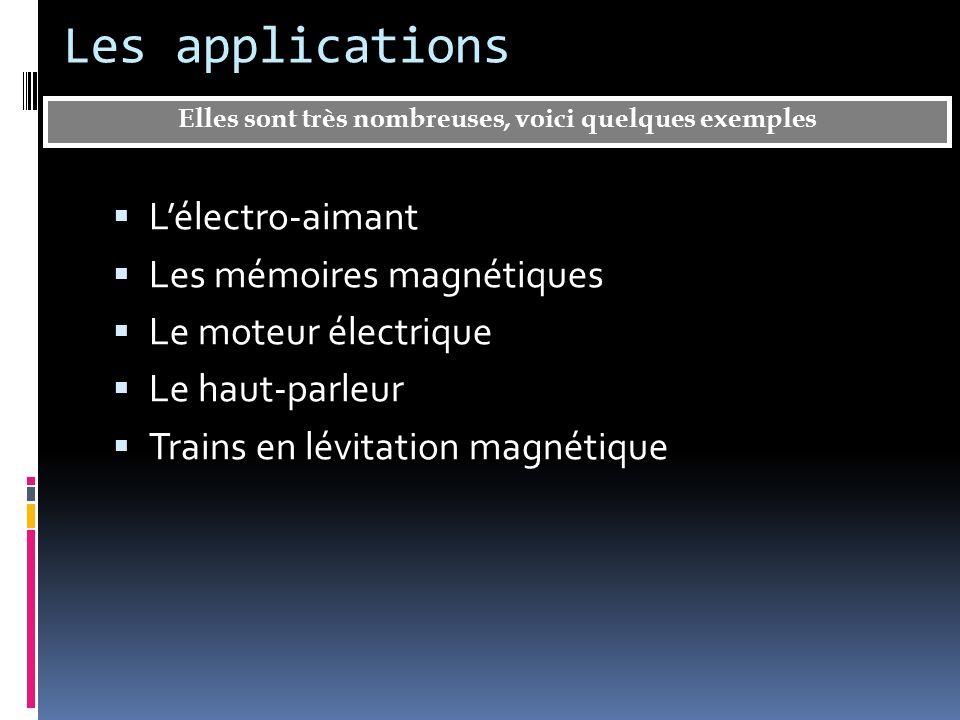 Les applications Lélectro-aimant Les mémoires magnétiques Le moteur électrique Le haut-parleur Trains en lévitation magnétique Elles sont très nombreu