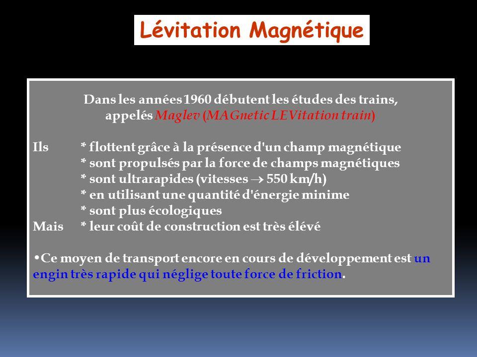 Lévitation Magnétique Dans les années 1960 débutent les études des trains, appelés Maglev ( MAGnetic LEVitation train ) Ils* flottent grâce à la prése