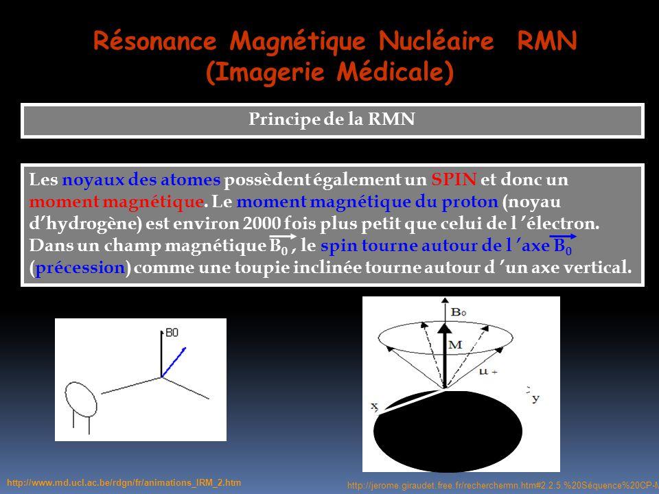 Résonance Magnétique Nucléaire RMN (Imagerie Médicale) Principe de la RMN Les noyaux des atomes possèdent également un SPIN et donc un moment magnétiq