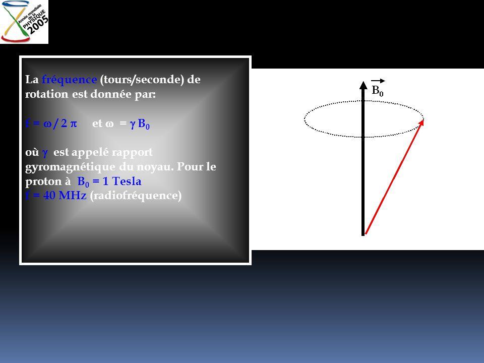 La fréquence (tours/seconde) de rotation est donnée par: f = / 2 et = B 0 où est appelé rapport gyromagnétique du noyau. Pour le proton à B 0 = 1 Tesl