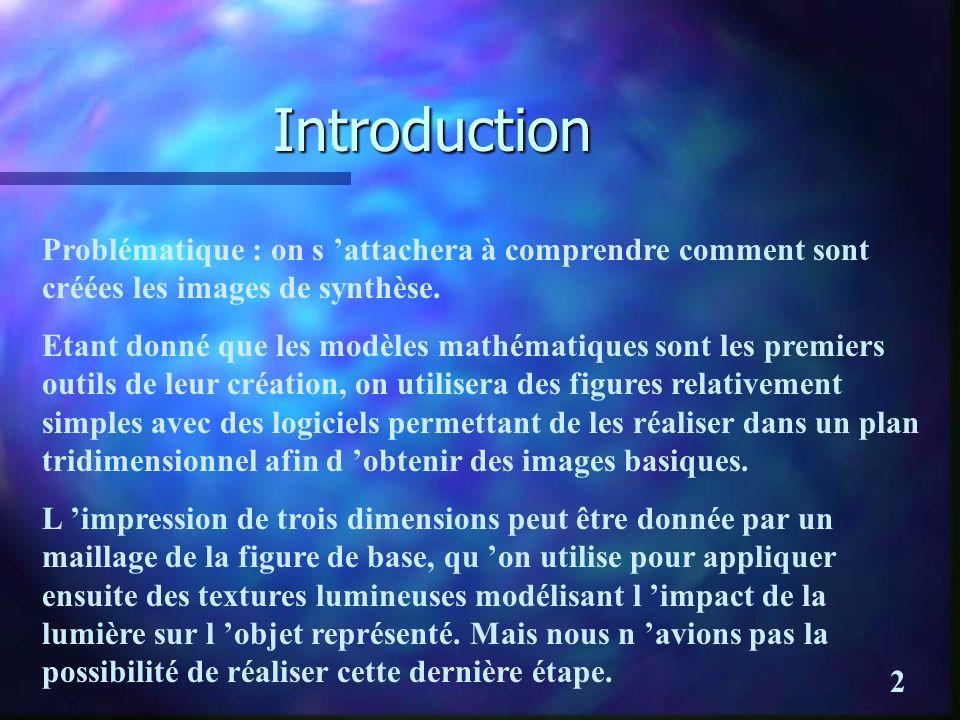 Introduction Problématique : on s attachera à comprendre comment sont créées les images de synthèse.