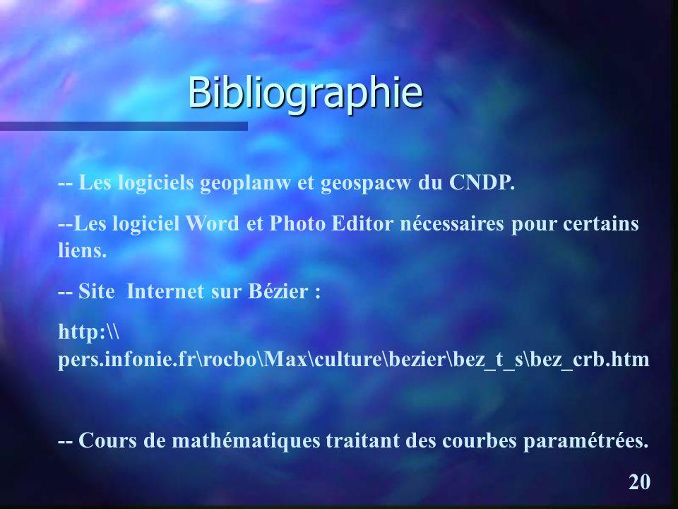 Bibliographie -- Les logiciels geoplanw et geospacw du CNDP.
