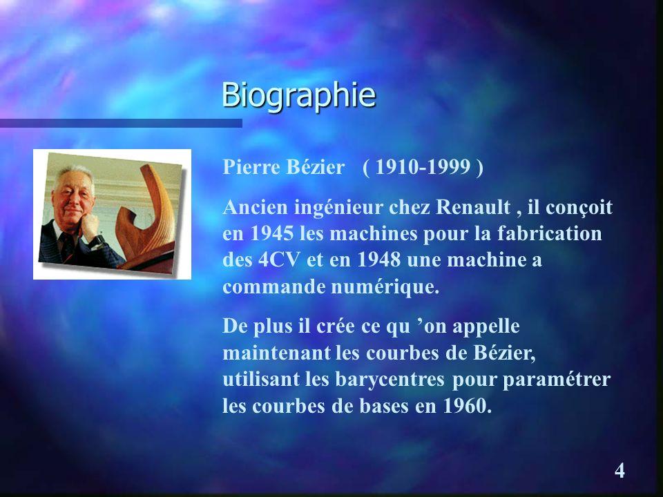 Biographie Pierre Bézier ( 1910-1999 ) Ancien ingénieur chez Renault, il conçoit en 1945 les machines pour la fabrication des 4CV et en 1948 une machine a commande numérique.