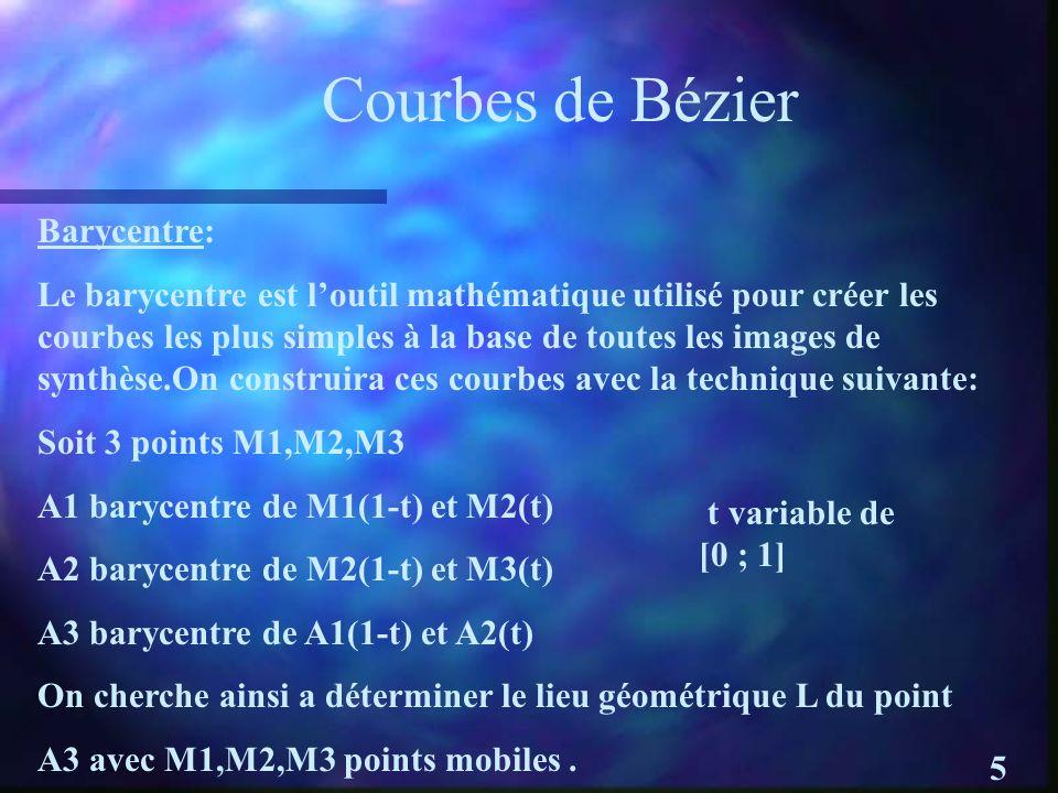 Courbes de Bézier Barycentre: Le barycentre est loutil mathématique utilisé pour créer les courbes les plus simples à la base de toutes les images de synthèse.On construira ces courbes avec la technique suivante: Soit 3 points M1,M2,M3 A1 barycentre de M1(1-t) et M2(t) A2 barycentre de M2(1-t) et M3(t) A3 barycentre de A1(1-t) et A2(t) On cherche ainsi a déterminer le lieu géométrique L du point A3 avec M1,M2,M3 points mobiles.