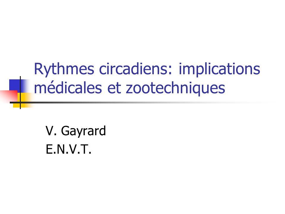 Rythmes circadiens Donnée fondamentale des êtres vivants Structure temporelle de lorganisme: implications médicales Rythmes circadiens et mesure de la durée du jour: implications zootechniques