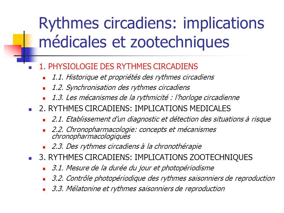 Rythmes circadiens: implications médicales et zootechniques 1. PHYSIOLOGIE DES RYTHMES CIRCADIENS 1.1. Historique et propriétés des rythmes circadiens