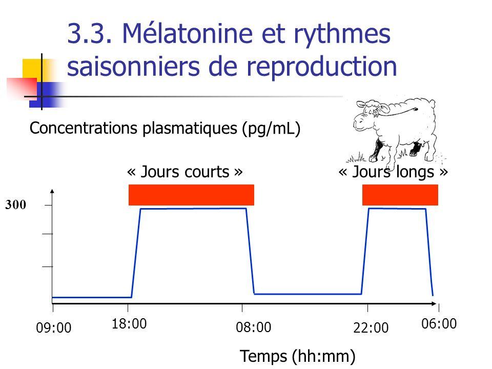 3.3. Mélatonine et rythmes saisonniers de reproduction Concentrations plasmatiques (pg/mL) 300 Temps (hh:mm) « Jours courts »« Jours longs » 18:00 08: