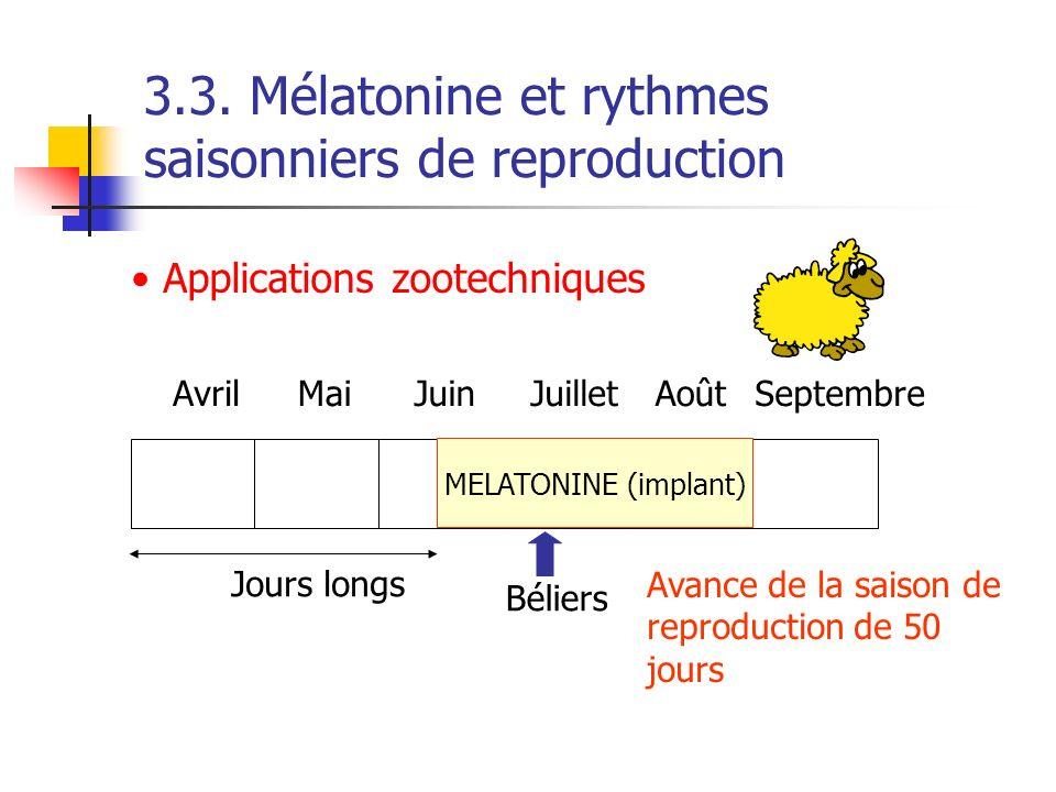MELATONINE (implant) Béliers Jours longs Avance de la saison de reproduction de 50 jours AvrilMaiJuinJuilletAoûtSeptembre 3.3. Mélatonine et rythmes s