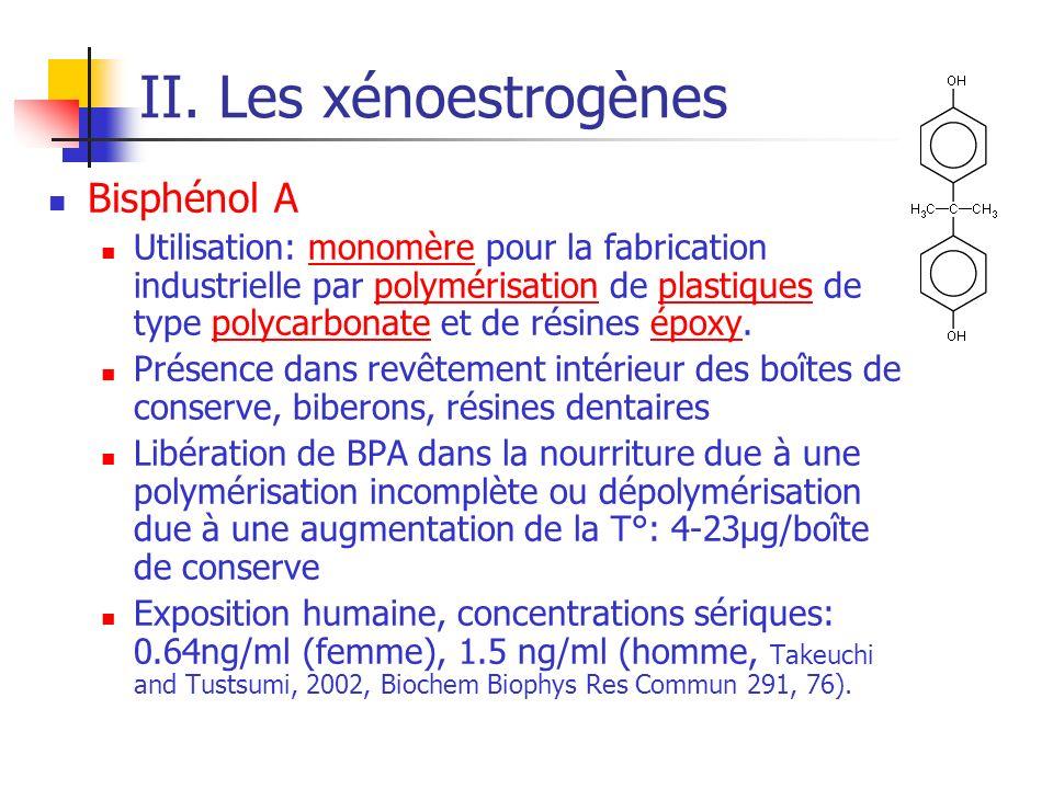 II. Les xénoestrogènes Bisphénol A Utilisation: monomère pour la fabrication industrielle par polymérisation de plastiques de type polycarbonate et de