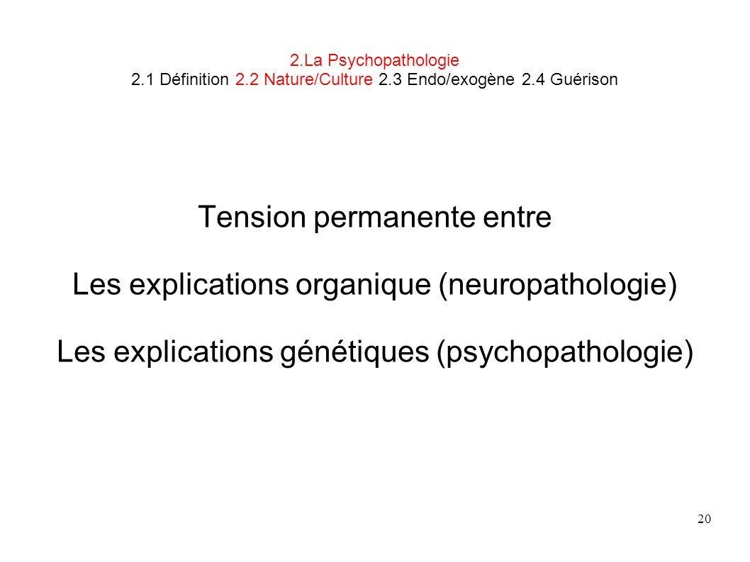 20 2.La Psychopathologie 2.1 Définition 2.2 Nature/Culture 2.3 Endo/exogène 2.4 Guérison Tension permanente entre Les explications organique (neuropat