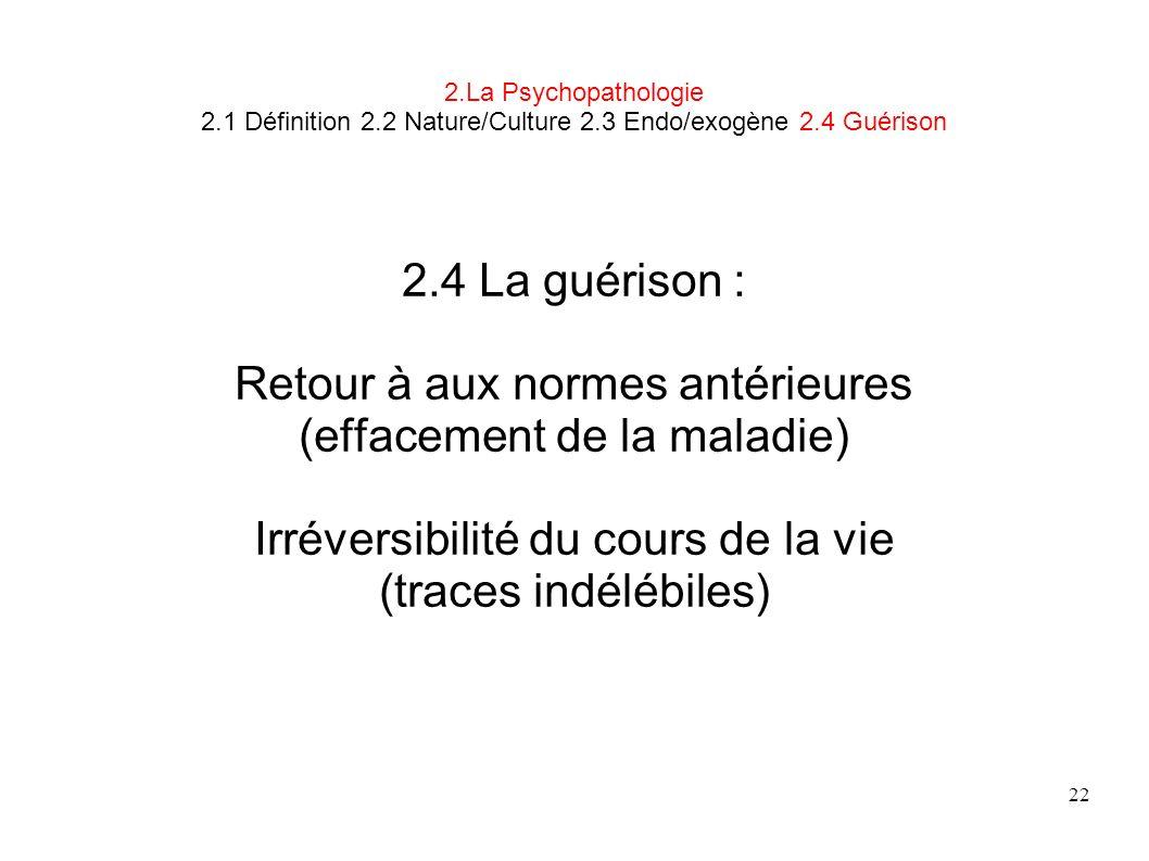22 2.La Psychopathologie 2.1 Définition 2.2 Nature/Culture 2.3 Endo/exogène 2.4 Guérison 2.4 La guérison : Retour à aux normes antérieures (effacement