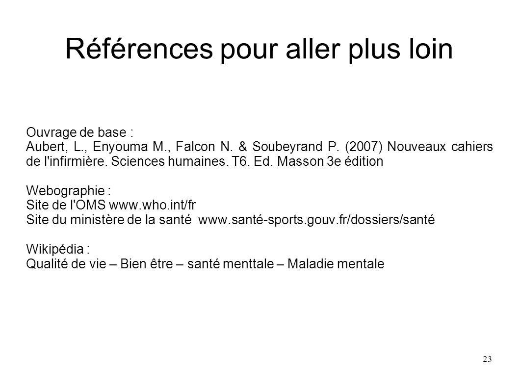 23 Références pour aller plus loin Ouvrage de base : Aubert, L., Enyouma M., Falcon N. & Soubeyrand P. (2007) Nouveaux cahiers de l'infirmière. Scienc
