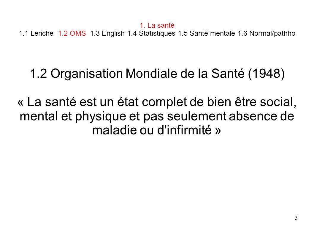 3 1. La santé 1.1 Leriche 1.2 OMS 1.3 English 1.4 Statistiques 1.5 Santé mentale 1.6 Normal/pathho 1.2 Organisation Mondiale de la Santé (1948) « La s