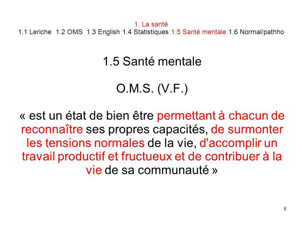 8 1. La santé 1.1 Leriche 1.2 OMS 1.3 English 1.4 Statistiques 1.5 Santé mentale 1.6 Normal/pathho 1.5 Santé mentale O.M.S. (V.F.) « est un état de bi