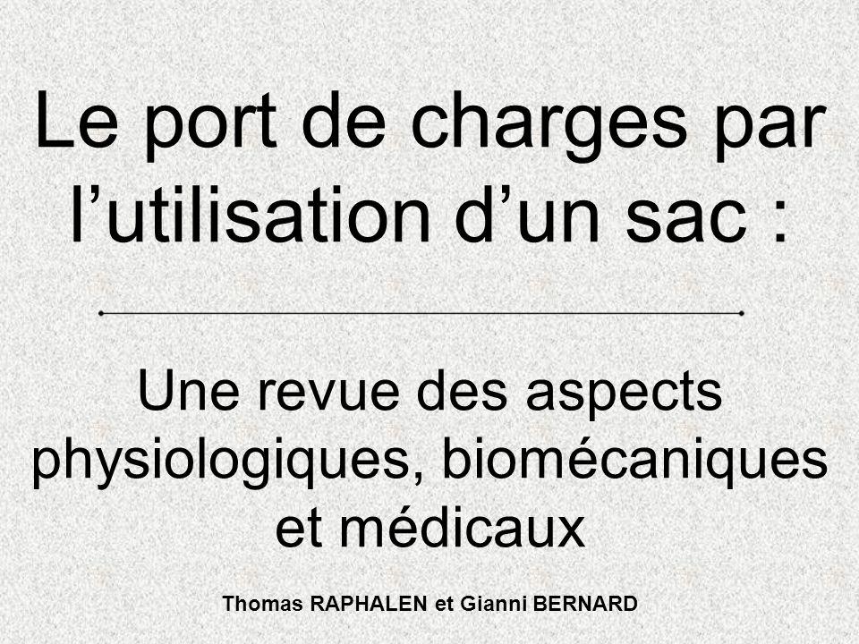 Le port de charges par lutilisation dun sac : Une revue des aspects physiologiques, biomécaniques et médicaux Thomas RAPHALEN et Gianni BERNARD