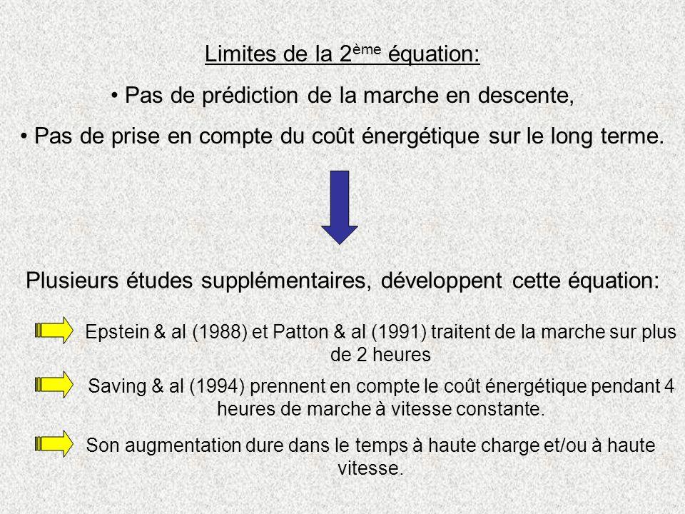 Limites de la 2 ème équation: Pas de prédiction de la marche en descente, Pas de prise en compte du coût énergétique sur le long terme. Plusieurs étud