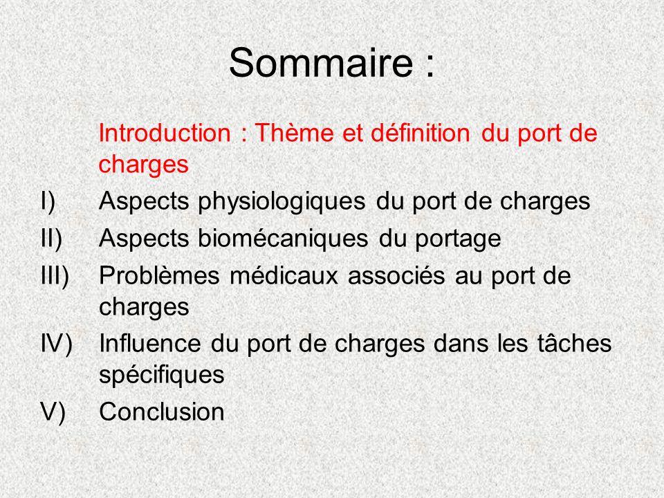 Sommaire : I)Aspects physiologiques du port de charges II)Aspects biomécaniques du portage III)Problèmes médicaux associés au port de charges IV)Influ