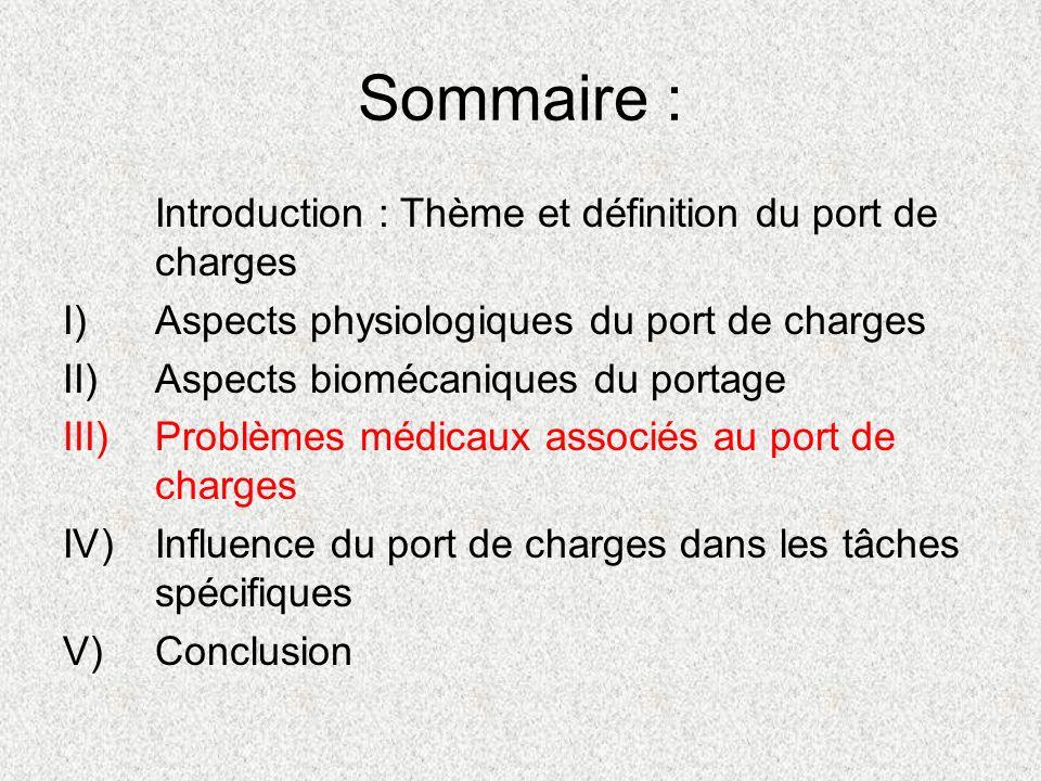 Sommaire : Introduction : Thème et définition du port de charges I)Aspects physiologiques du port de charges II)Aspects biomécaniques du portage III)P