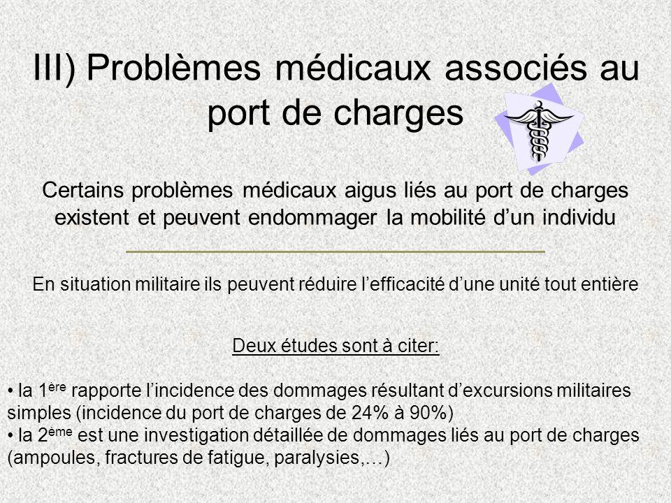 III) Problèmes médicaux associés au port de charges Certains problèmes médicaux aigus liés au port de charges existent et peuvent endommager la mobili