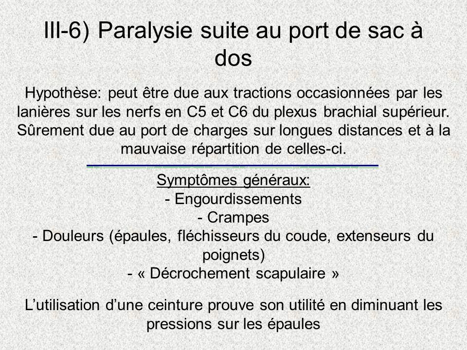 III-6) Paralysie suite au port de sac à dos Hypothèse: peut être due aux tractions occasionnées par les lanières sur les nerfs en C5 et C6 du plexus b