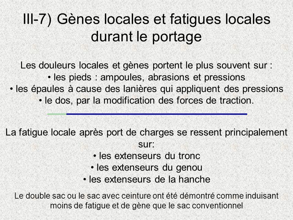 III-7) Gènes locales et fatigues locales durant le portage Les douleurs locales et gènes portent le plus souvent sur : les pieds : ampoules, abrasions