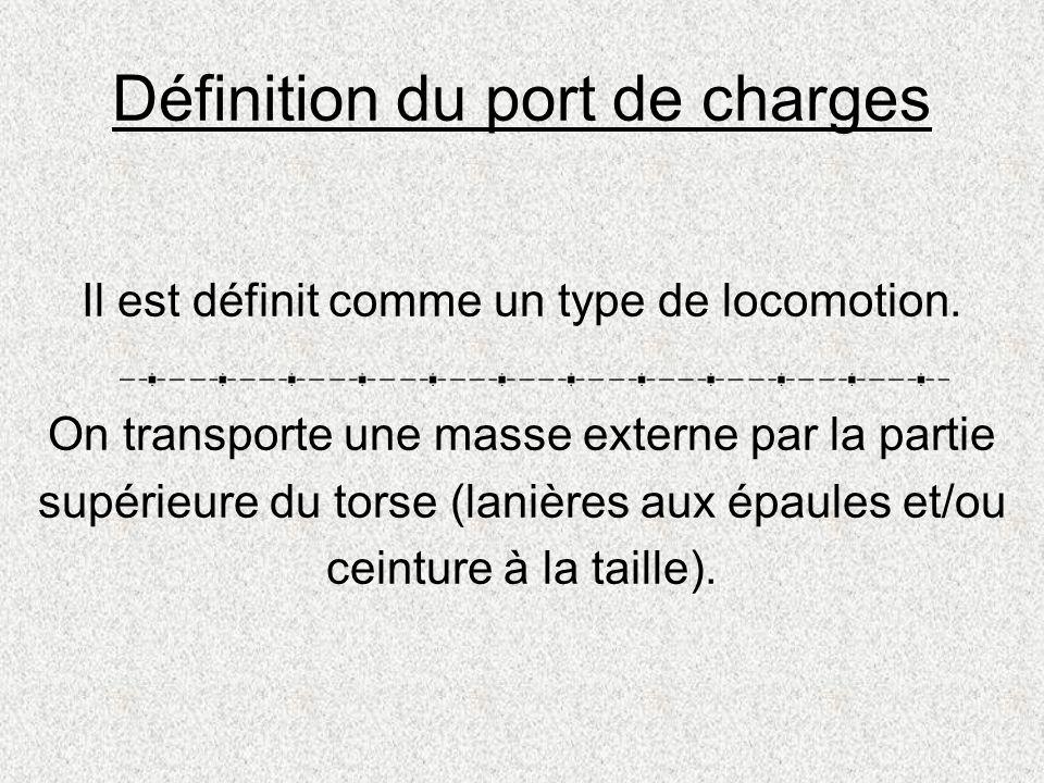 Définition du port de charges Il est définit comme un type de locomotion. On transporte une masse externe par la partie supérieure du torse (lanières