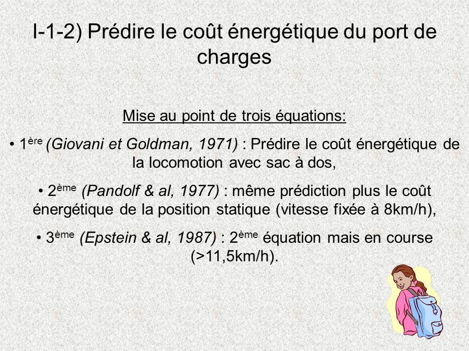 I-1-2) Prédire le coût énergétique du port de charges Mise au point de trois équations: 1 ère (Giovani et Goldman, 1971) : Prédire le coût énergétique