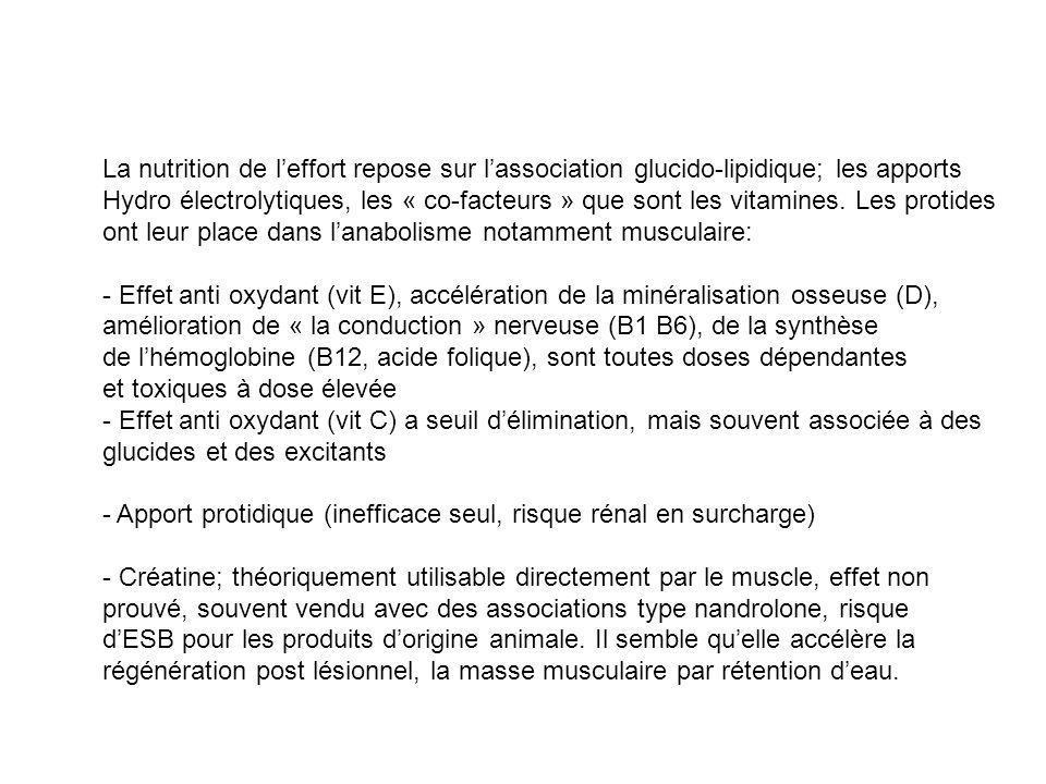 La nutrition de leffort repose sur lassociation glucido-lipidique; les apports Hydro électrolytiques, les « co-facteurs » que sont les vitamines. Les