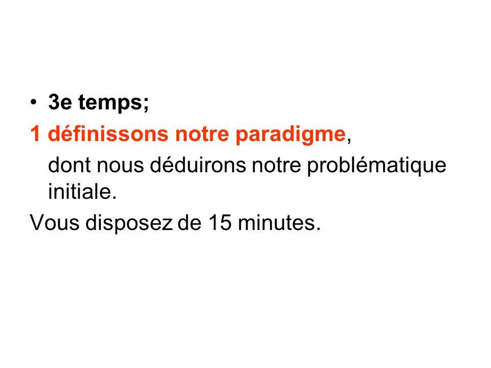 3e temps; 1 définissons notre paradigme, dont nous déduirons notre problématique initiale. Vous disposez de 15 minutes.