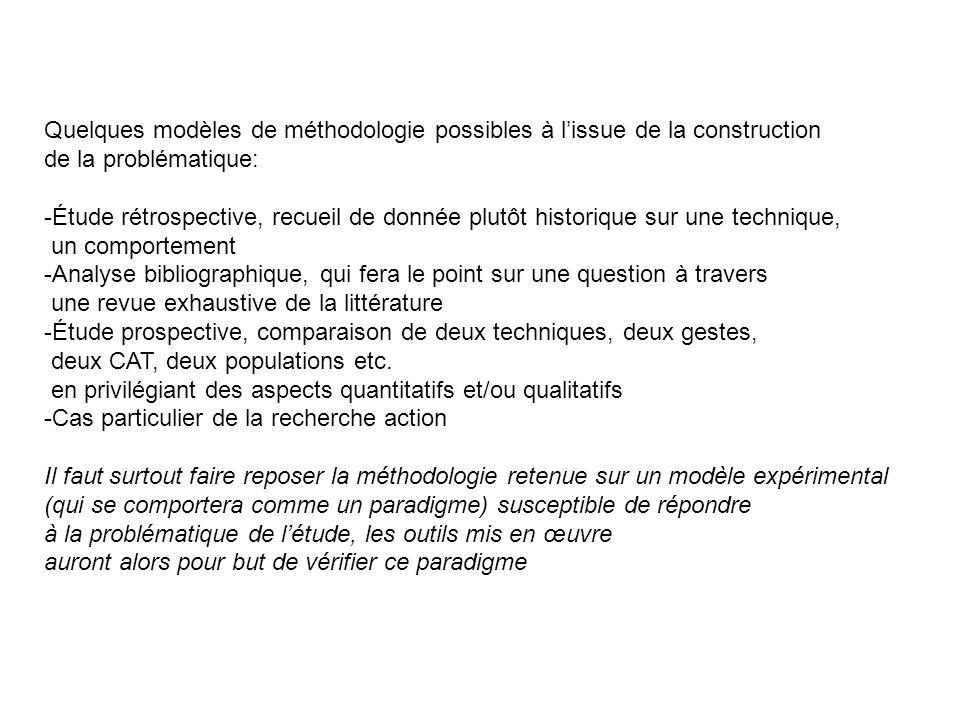 Quelques modèles de méthodologie possibles à lissue de la construction de la problématique: -Étude rétrospective, recueil de donnée plutôt historique
