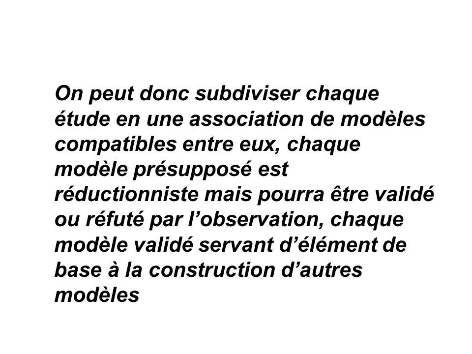 On peut donc subdiviser chaque étude en une association de modèles compatibles entre eux, chaque modèle présupposé est réductionniste mais pourra être