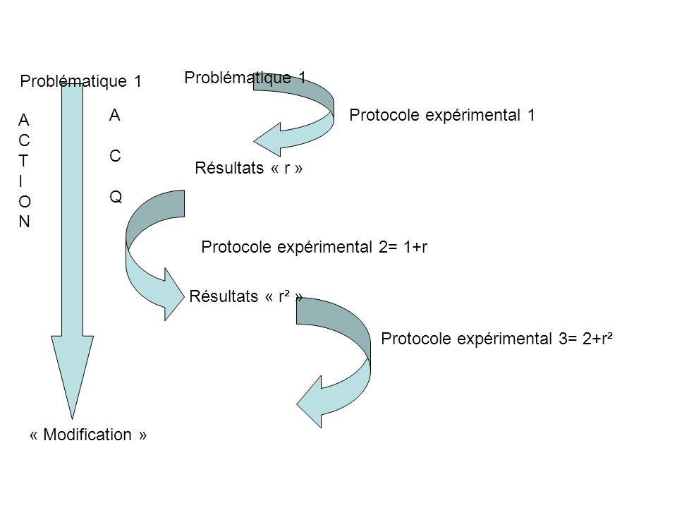 Problématique 1 Protocole expérimental 1 Résultats « r » Résultats « r² » Protocole expérimental 2= 1+r Protocole expérimental 3= 2+r² ACTIONACTION AC