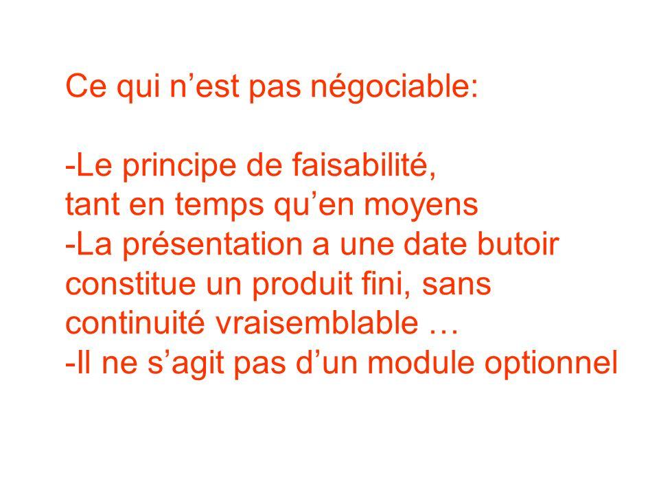 Ce qui nest pas négociable: -Le principe de faisabilité, tant en temps quen moyens -La présentation a une date butoir constitue un produit fini, sans