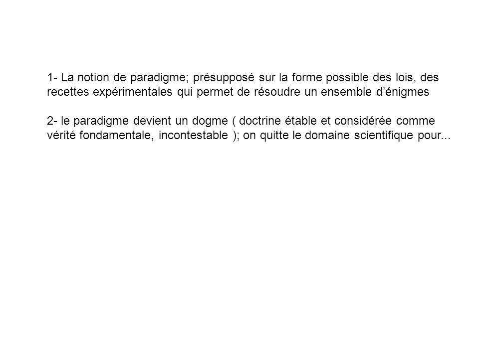 1- La notion de paradigme; présupposé sur la forme possible des lois, des recettes expérimentales qui permet de résoudre un ensemble dénigmes 2- le pa