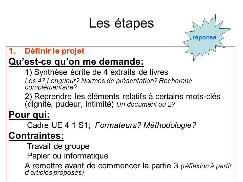 Les étapes 1.Définir le projet Quest-ce quon me demande: 1) Synthèse écrite de 4 extraits de livres Les 4? Longueur? Normes de présentation? Recherche