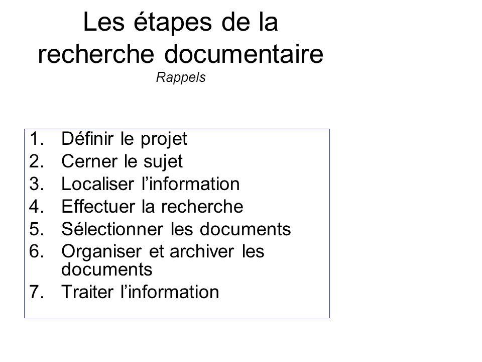 Les étapes de la recherche documentaire Rappels 1.Définir le projet 2.Cerner le sujet 3.Localiser linformation 4.Effectuer la recherche 5.Sélectionner les documents 6.Organiser et archiver les documents 7.Traiter linformation Fiche de lecture Documents fournis