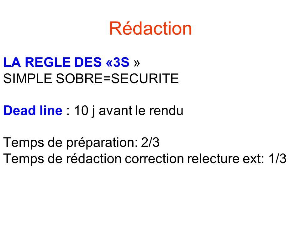 LA REGLE DES «3S » SIMPLE SOBRE=SECURITE Dead line : 10 j avant le rendu Temps de préparation: 2/3 Temps de rédaction correction relecture ext: 1/3 Ré